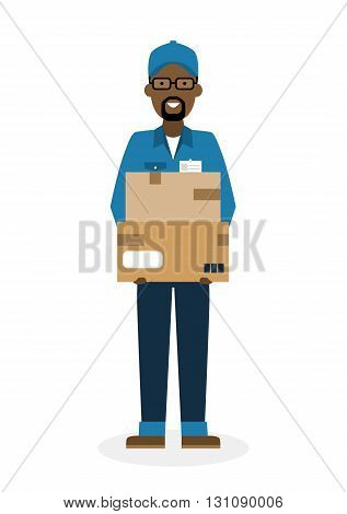 Delivery man with parcel. Fast transportation. Isolated african american cartoon character on white background. Postman, courier with package. Concept of online shopping and moving.