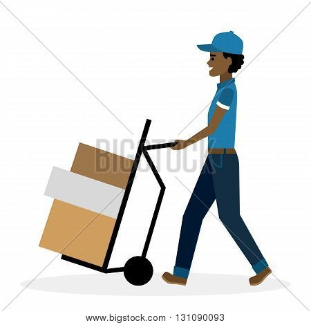 Delivery man with parcel on truck, trolley.  Fast transportation. Isolated african american cartoon character on white background. Postman, courier with package on trolley.