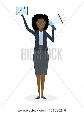 Business woman with book and megaphone on white background. Isolated african american businesswoman holding loudspeaker and book. Announcement and advertising. Attention please. Loud voice.