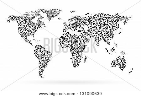 World map from notes on white background. Black notes pattern. Black and white design. Map shape. Poster idea.