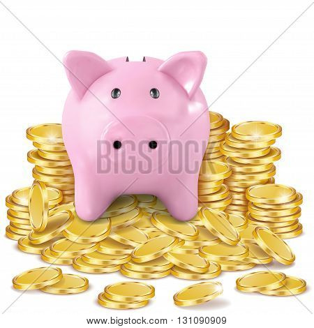 A piggy bank on a pile of coins isolated on white