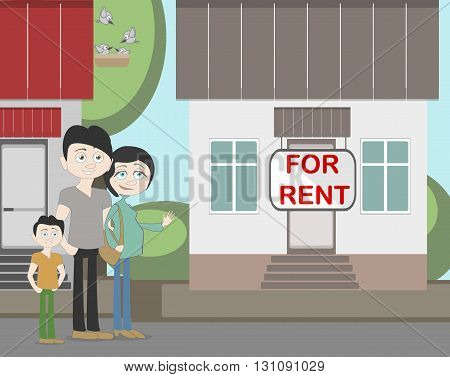 Young family with for rent house. Family search for new house. House with for rent sign. Happy new family. Parents and child. Pregnant mother.