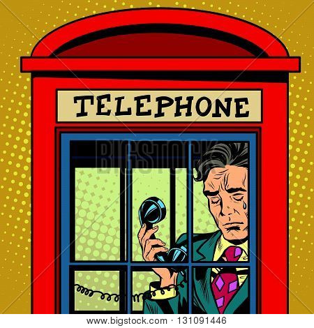 Retro man crying in a phone booth pop art retro vector. The love and emotions. Talking on the phone. Retro phone. Red telephone booth vector