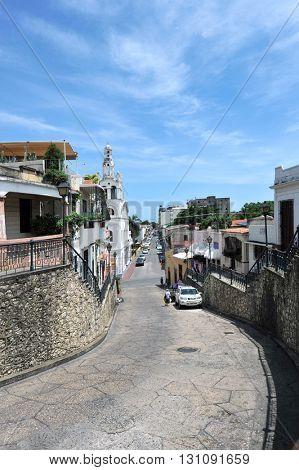 SANTO DOMINGO, DOMINICAN REPUBLIC - NOVEMBER 8, 2016: Street, Santo Domingo, Dominican Republic