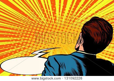 frightened man back pop art retro vector. The viewer is witness. Male back. Rear view