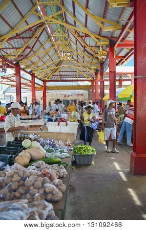 SEYCHELLES MAE - MAY 16 2009: Market in the capital of the Seychelles in Mahe on the same island.