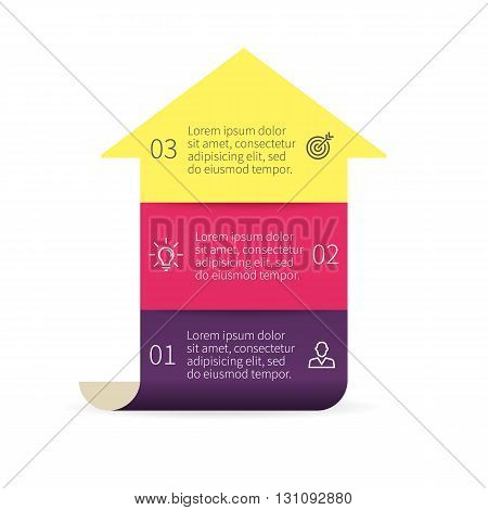 Arrow for infographics. Diagram with 3 steps. Vector design element.