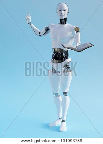 A male robot holding a book in one hand and holding up his other hand like he is having an idea. 3D rendering. Blue background.