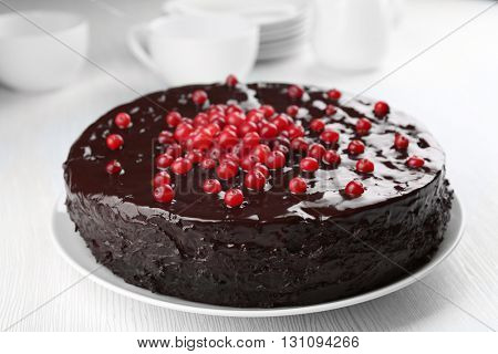Chocolate cake with cranberries on plate, closeup