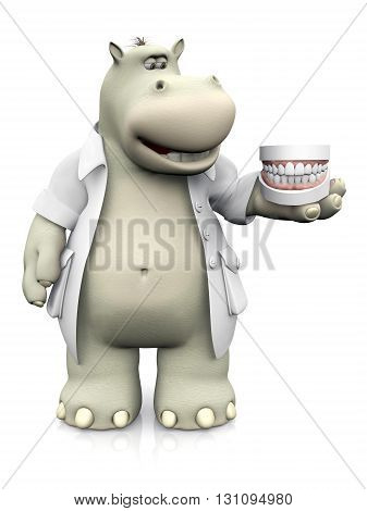 A smiling cartoon hippo dressed as dentist holding dentures in his hand. 3D rendering. White background.