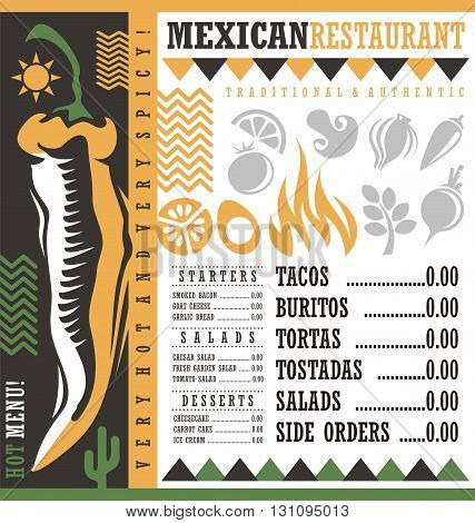 Mexican restaurant menu design template. Vector flyer layout for Mexican food. Document print background with chili pepper. Hot and spicy food. Tacos and burritos.