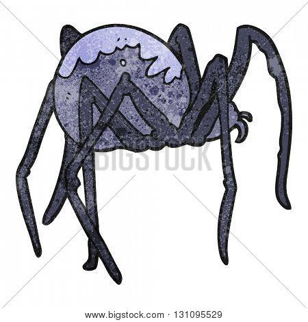 freehand textured cartoon creepy spider