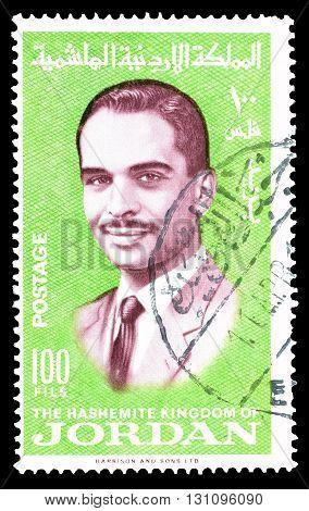 JORDAN - CIRCA 1966 : Cancelled postage stamp printed by Jordan, that shows king Hussein.