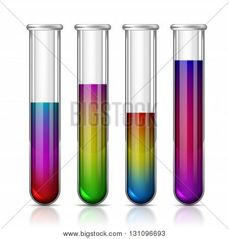 Colorful Test Tubes isolated on a white background