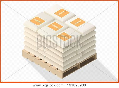 Stacked cement sacks vector 3d flat illustration. Bags with concrete isometric view.