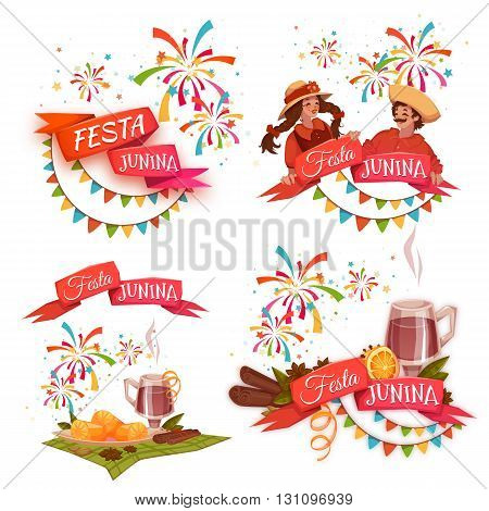 Banner set with ribbons for Festa Junina Brazil party. Vector illustration.