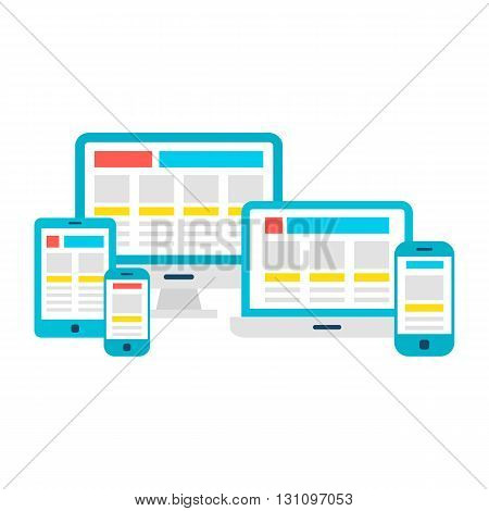 Responsive Design Flat Gadgets Over White