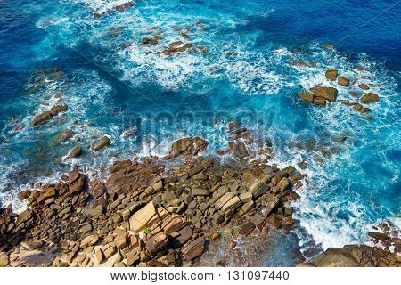 Top view of the rocky coast