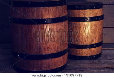 Two old wooden wine barrels, closeup