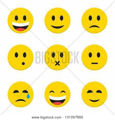 Yellow Smiley Faces Over White