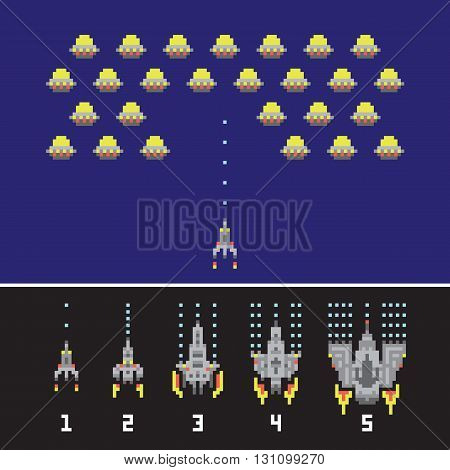 Pixel art style space war and spaceship game upgrades vector pack