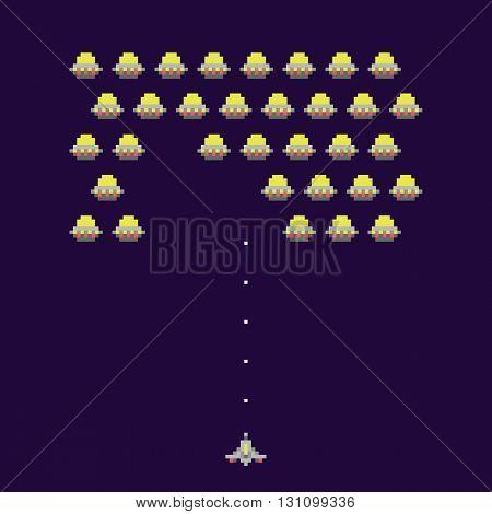Old school pixel art ufos arcade game vector illustration
