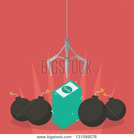 Robotic claw clutching a money against bomb. Business risk