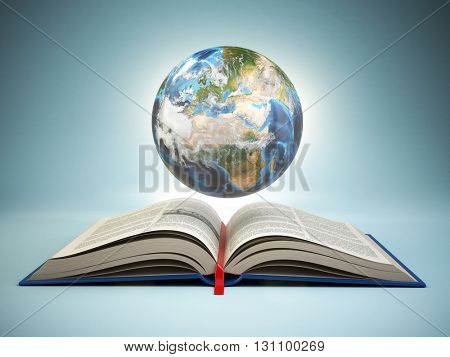 Opened book and Earth on blue background, Education concept. 3d illustration Elements of this image furnished by NASA.
