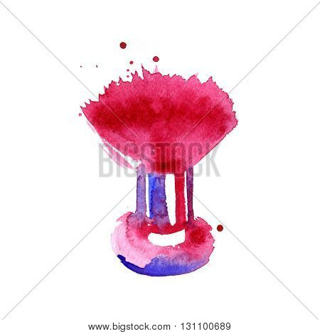 watercolor pink powder brush on white background