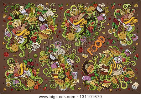 Colorful vector hand drawn doodles cartoon set of food objects and symbols