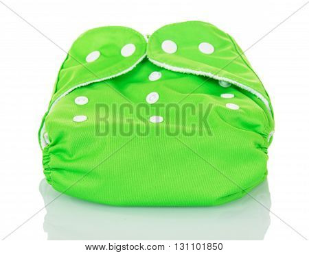 A modern cloth nappy isolated against a white background.
