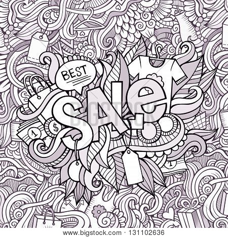 Sale hand lettering and doodles elements background. Vector illustration