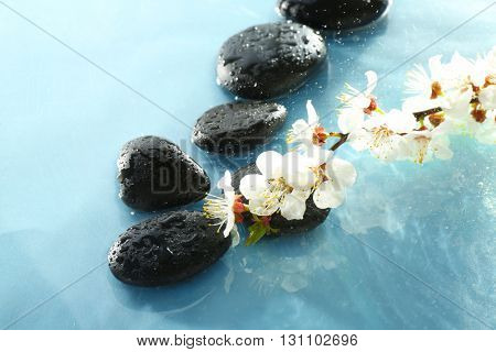 Spa stones with blooming branch on grey background