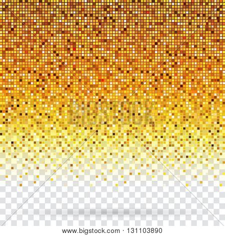Golden pixels flickering texture abstract background.
