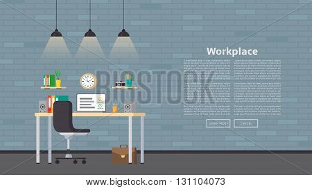 Web banner with workplace and place for text in flat style. Vector illustration with business workspace in the office. Web page with office interior.