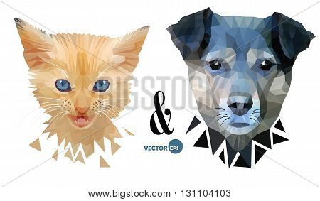 Dog and cat face portrait love Pets friendship and confrontation. Kitten and puppy fun animals. Zoo collections. Dog cat face on the white made in triangular Low Poly style for print design.