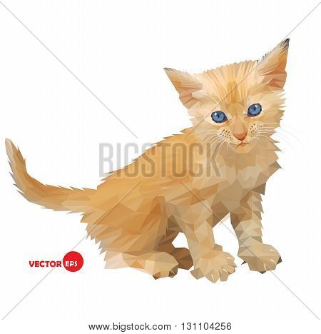 Red baby cat little kitten vector illustration silhouette on the white background isolated made in triangle polygons style.