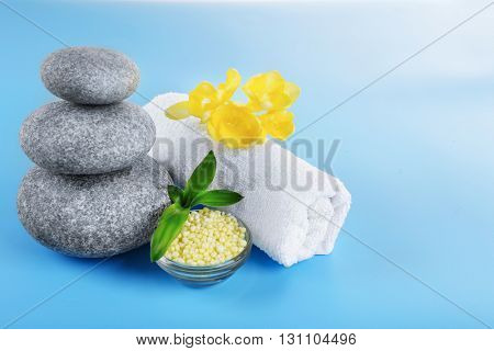 Beautiful spa composition on blue background