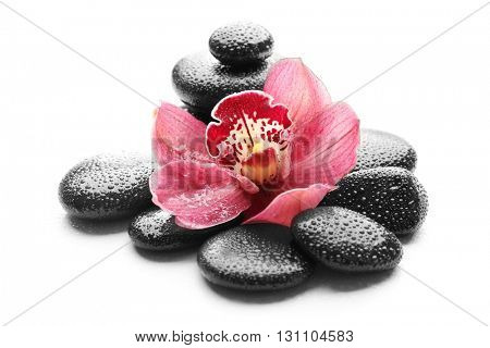 Spa stones and beautiful pink orchid on white background