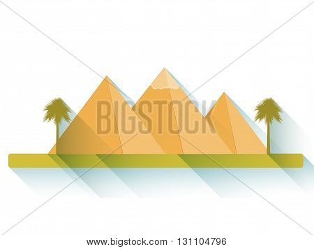 Egyptian Pyramids. Flat Pyramids. Landscape With The Egyptian Pyramids. Vector Illustration.