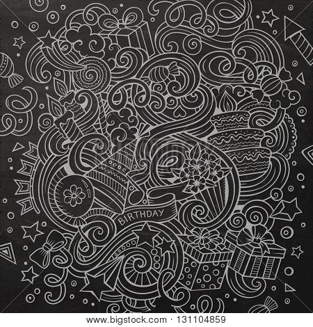 Cartoon hand-drawn doodles holidays illustration. Line art chalkboard detailed, with lots of objects vector design background