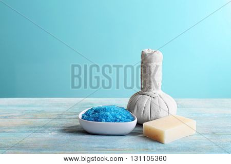Spa treatment on blue background