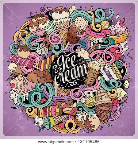 Cartoon hand-drawn doodles Ice Cream illustration. Vintage detailed, with lots of objects vector design background