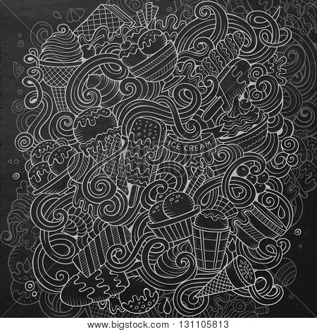 Cartoon hand-drawn doodles Ice Cream illustration. Chalkboard detailed, with lots of objects vector design background