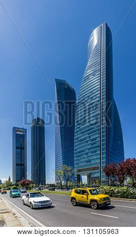 MADRID,SPAIN - APRIL 26,2016 - Four Towers Business Area of Madrid. The area contains the tallest skyscrapers in Spain the Torre Espacio (224 m) Torre de Cristal (249 m) Torre PwC (236 m) and Torre Cepsa (248 m).