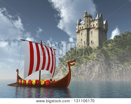 Computer generated 3D illustration with Scottish castle by the sea and Viking ship