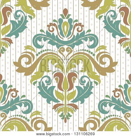 Seamless oriental ornament in the style of baroque. Traditional classic vector colorful pattern