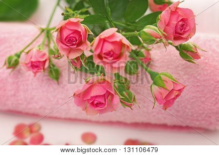 Spa concept. Flower bouquet and towel on white background