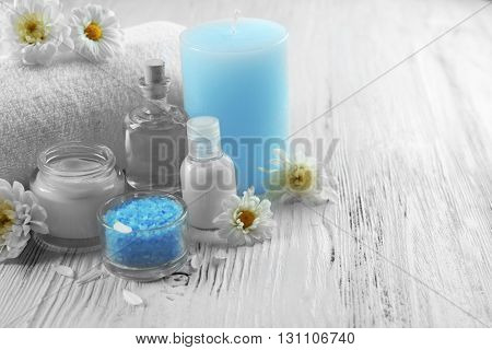 Spa set on white wooden table