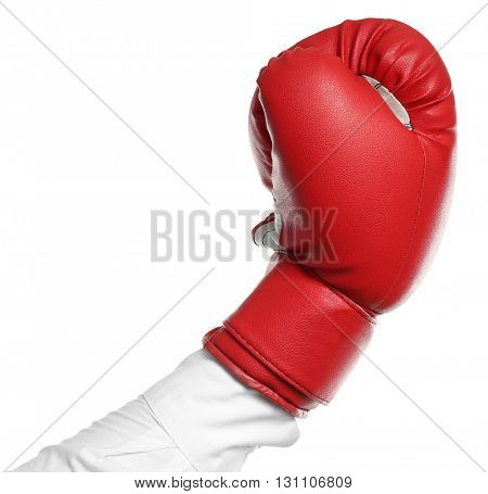 Male hand in boxing glove, isolated on white
